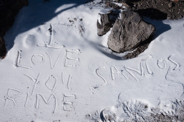 J'aime les messages dans la neige