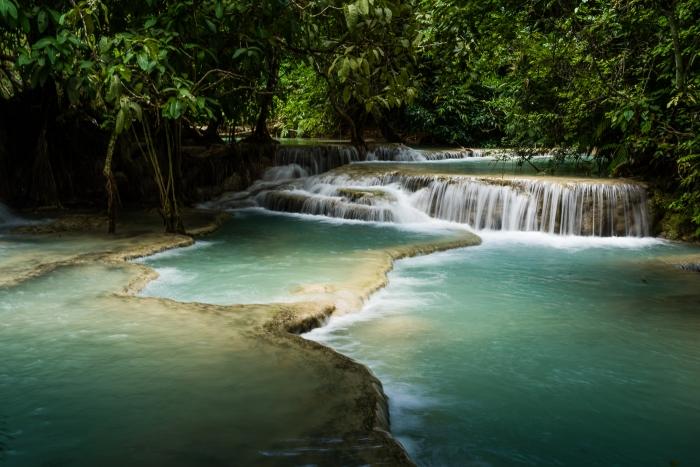 Kuang Si Falls and snake-2